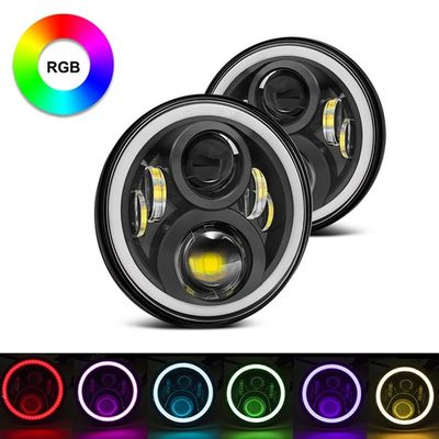 Chiny 7-calowy okrągły RGB Halo Car Lights Sterowanie Bluetooth Reflektory High / Low Beam For Driving Light dostawca