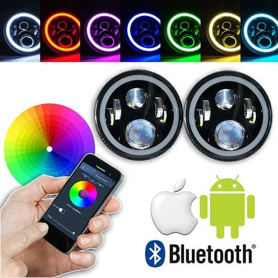 Chiny 7 Inch Round RGB LED Headlights Bluetooth Phone APP Control High Low Beam dostawca