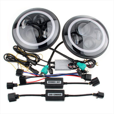 70W Led Jeep Wrangler Headlights , High Low Beam Halo Angel Eyes Headlights